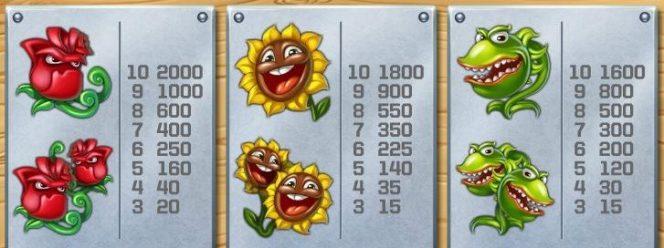 Auszahlungstabelle des kostenlosen Casino-Spielautomaten Flowers