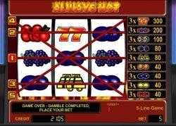 Fünf Gewinnlinien des kostenlosen Online-Spielautomaten Always Hot