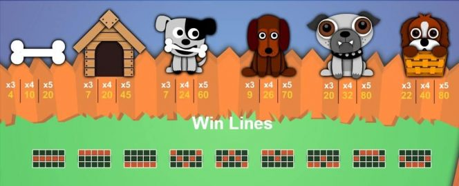 Auszahlungstabelle des kostenlosen Online-Casino-Spielautomaten Puppy Payday
