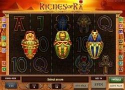 Bonusspiel des kostenlosen Online-Casino-Spielautomaten Riches of Ra