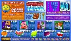 Auszahlungstabelle des Online-Spielautomaten Cabin Fever
