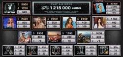 Auszahlungstabelle des Online-Casino-Spielautomaten Playboy