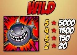 Das Wild-Symbol des Casino-Spielautomaten Shaaark! Super Bet