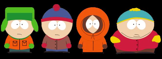 Kenny, Cartman, Stan und Kyle vom Online-Casino-Spielautomaten South Park