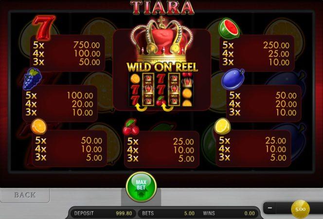 Auszahlungstabelle des Tiara Online-Casino-Spielautomaten