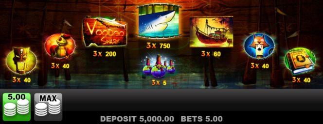 Auszahlungstabelle des Voodoo Shark Online-Casino-Spiels