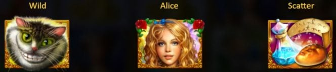 Símbolos especiales del juego de casino Alice in Wonderslots