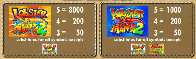 Comodines del juego Lucky Larry´s Lobstermania 2