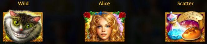 Speciális szimbólumok az Alice in Wonderslots casino játékból