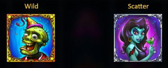A vad és scatter ikonok a Zombirthday casino nyerőgépes játékból