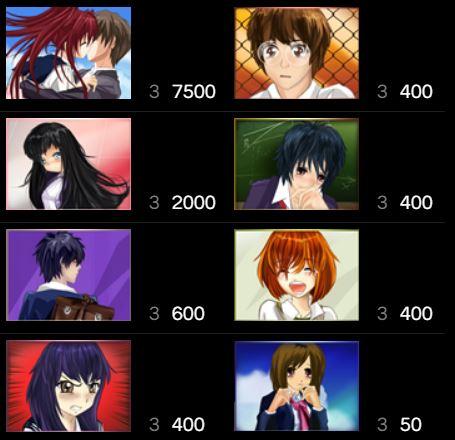 Tabel de câștiguri în High School Manga joc ca la aparate online