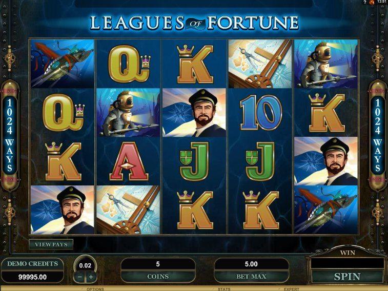 Играть бесплатно игровой автомат Leagues of Fortune (Лига Фортуны) Многих из нас привлекает тема поиска сокровищ.Как бы хотелось погрузиться в воду и поднять на сушу несколько затонувших сундуков.