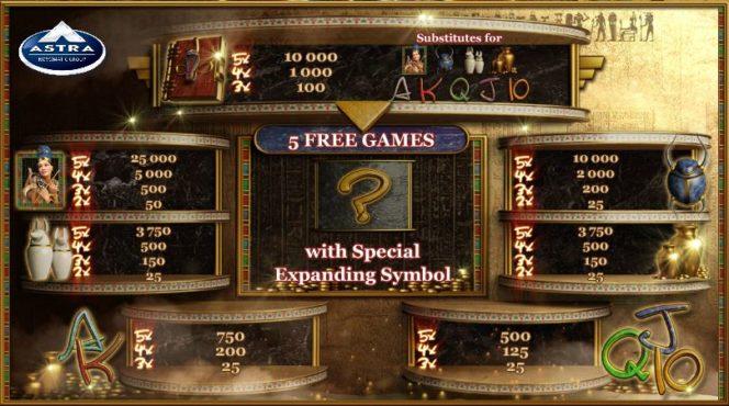 Secrets of the Sand игровой автомат казино онлайн – изображение таблицы выплат
