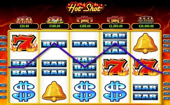 Winning line of online free slot Hot Shot