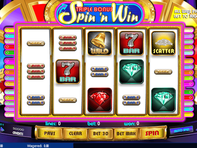 picture from free online slot The Triple Bonus Spin ´n Win