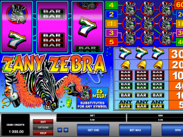 picture from free online slot Zany Zebra