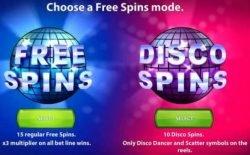 Disco Spins joc gratis cu aparate - alegerea rotirilor gratuite