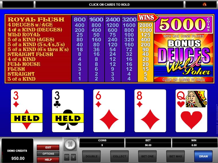 free deuces wild slot machines