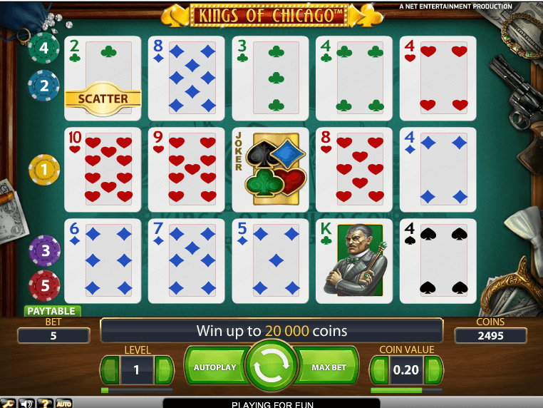 Poker style slot machine card game