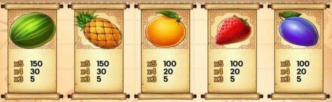 Paytable I - online slot machine Ninja Fruits