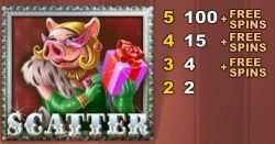Scatter symbol from online free slot Piggy Riches no registration
