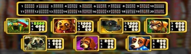Tabel și linii de câștig în jocul ca la aparate online Puppy Love