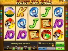 Free online slot machine Quest for Gold to play