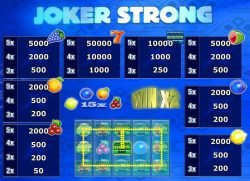 Paytable from Joker Strong free slot machine
