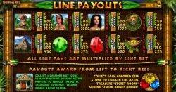 Payouts of Aztec Treasures online slot
