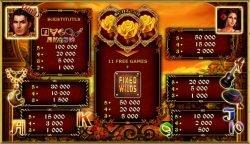 Flamenco Roses nyerőgép- kifizetési táblázat