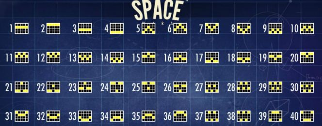 Paylines diagram of Space Wars free slot for fun