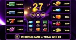 Darmowa gra kasynowa Turbo 27– tabela wypłat