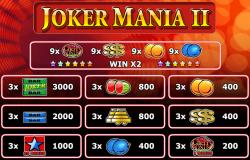 Tabela wypłat w darmowym automacie do gier Joker Mania II