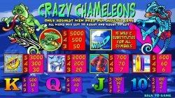 Online casino slot Crazy Chameleons - paytable