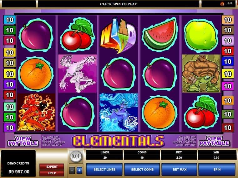 Elementals online free slot machine