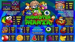 Paytable - Monster Mania free casino slot game