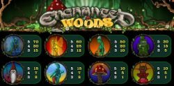 Paytable of Enchanted Woods casino slot