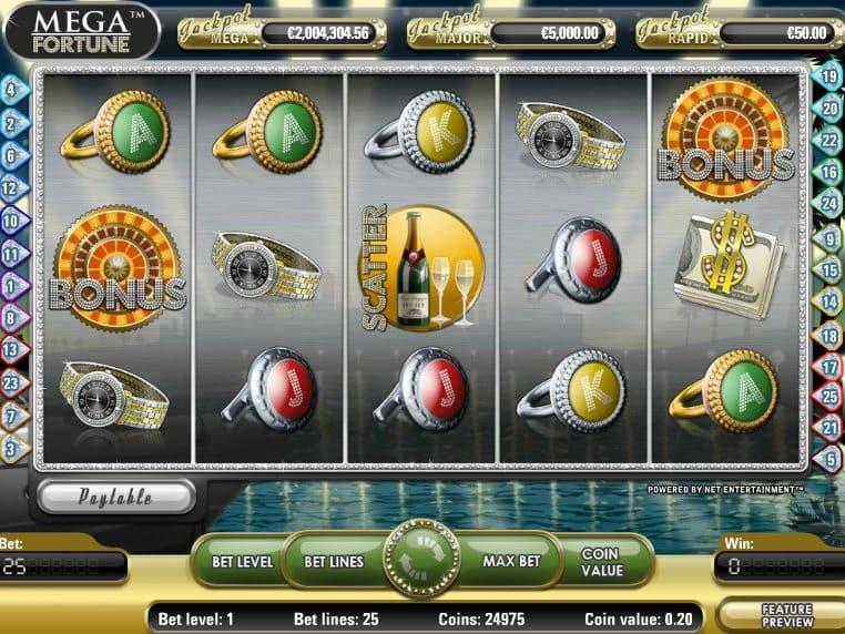 Slot casino game Mega Fortune free online