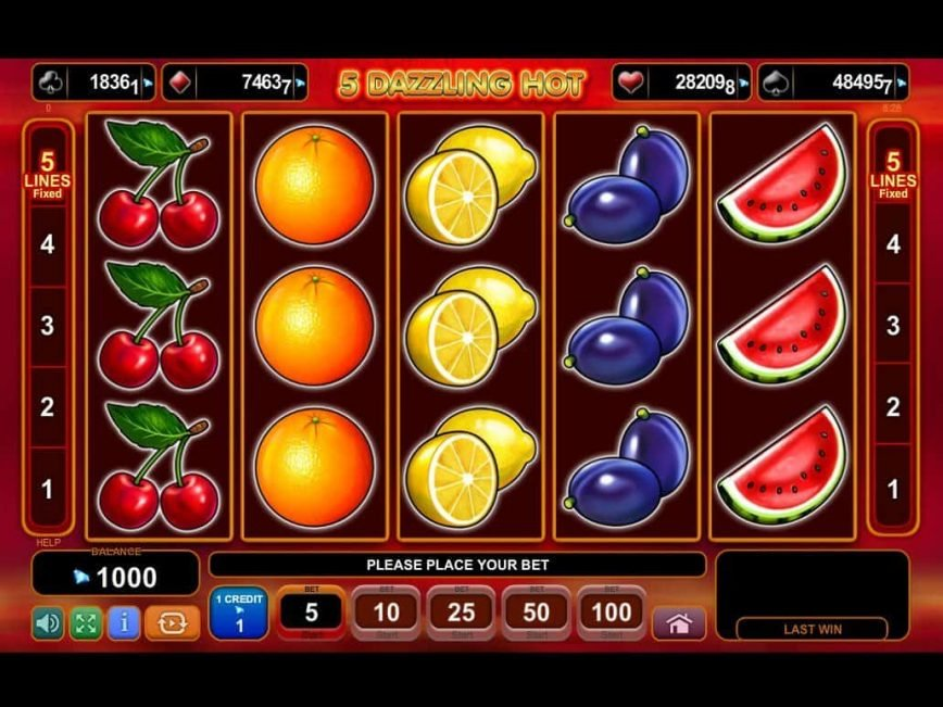 Play free slot 5 Dazzling Hot no deposit