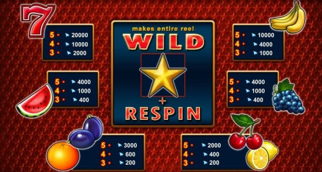 Paytable of Extra Stars free casino slot