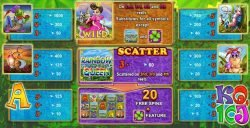 Paytable of casino online slot Rainbow Queen