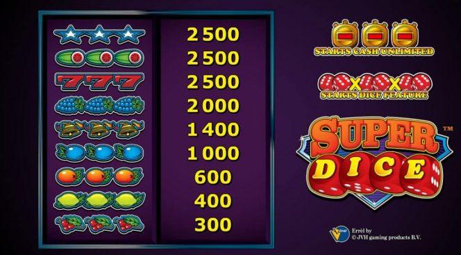 SuperDice online casino játékgép- kifizetési táblázat