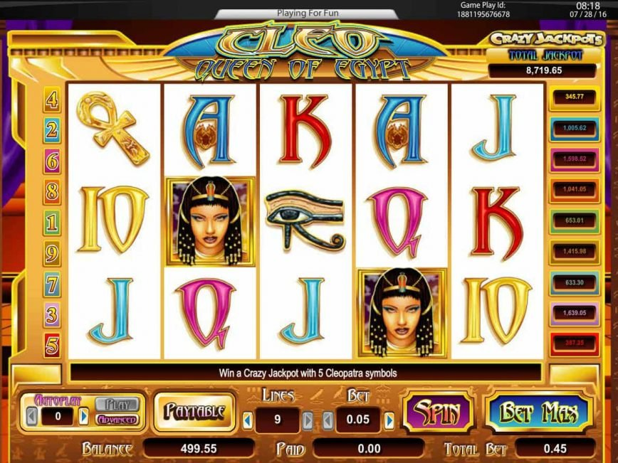 Picture from online casino slot Cleo Queen of Egypt