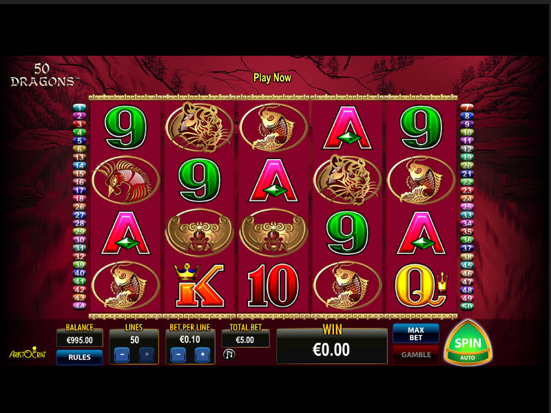 Picture from online slot machine 50 Dragons