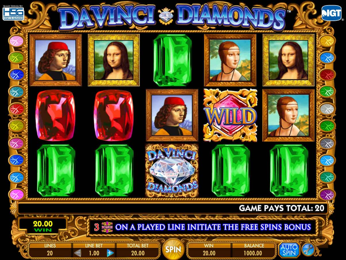 Da vinci diamond slot machine