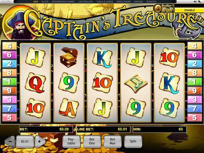 Online slot game Captain's Treasure