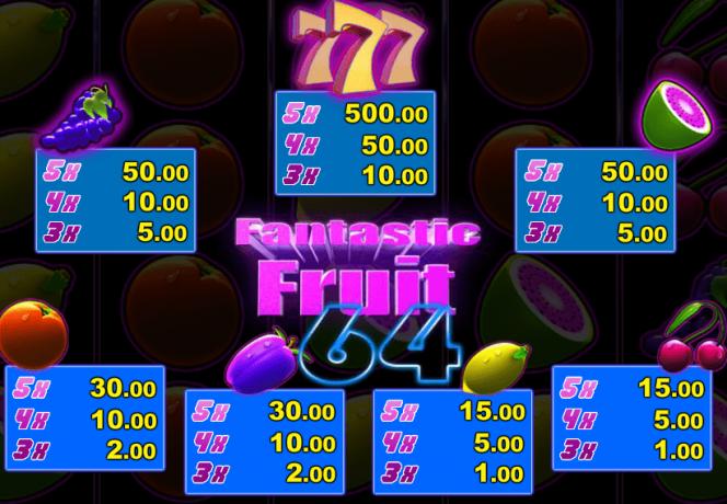Paytable of slot machine Fantastic Fruit