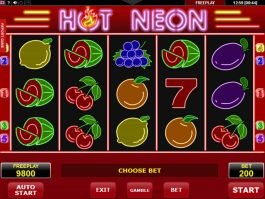 Spin free online slot Hot Neon