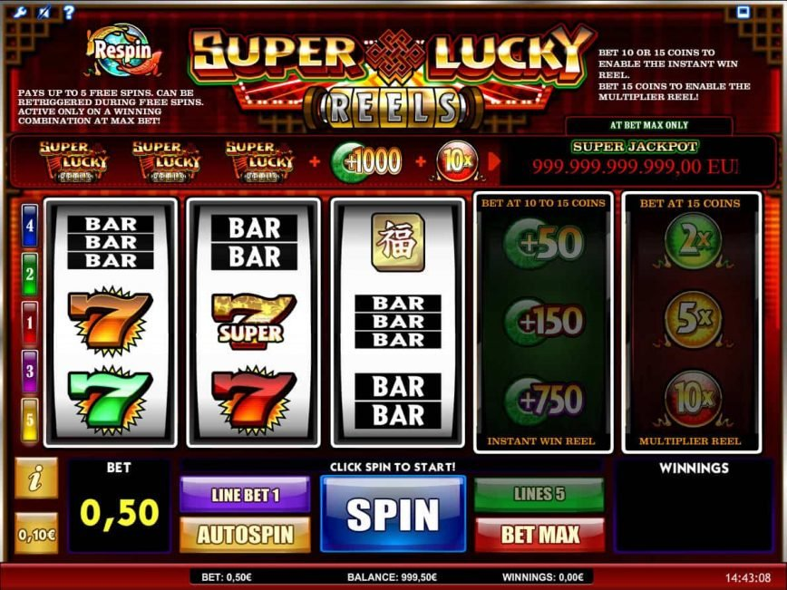 Play free slot machine Super Lucky Reels