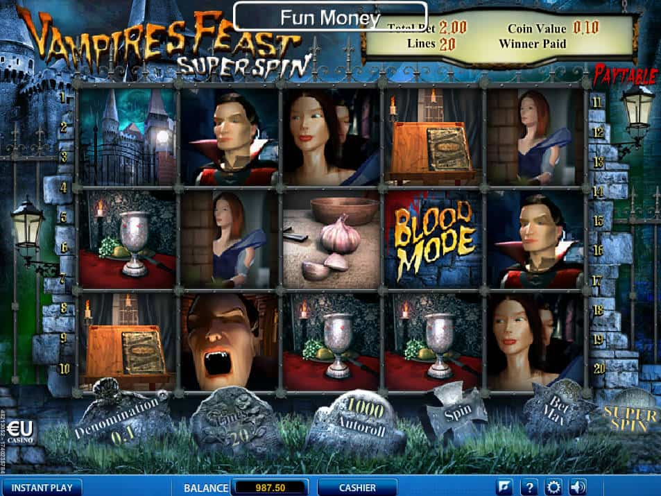 Play The Free Slot Vampires Feast Super Spin From SkillOnNet Casinos